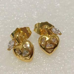 Other - New 18k gold filled apple heart Leaf studs
